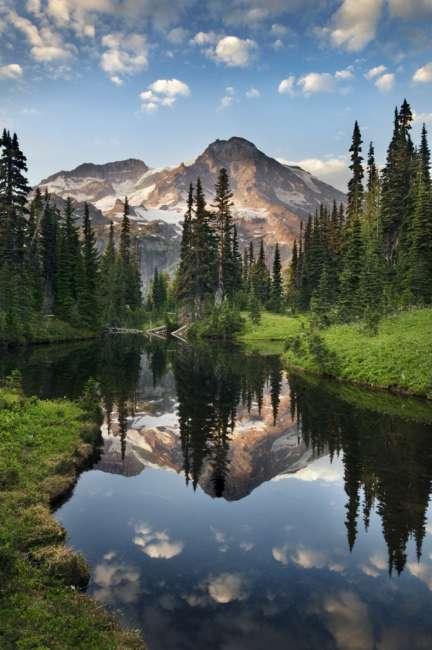 Mount Rainier reflecting in Mirror lakes, Mount Rainier National Park, Washington, USA