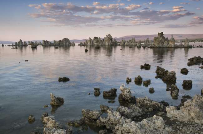 Evening light over Tufa formations on Mono Lake, Mono Basin, INYO National Forest, California