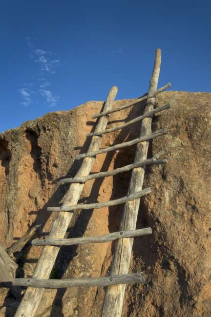 A ladder leading to a rock overlook at the Tsankawi section of Bandalier National Monument, New Mexico, USA