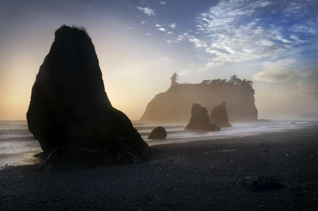 Sunset at Ruby Beach, Olympic National Park, Washington, USA