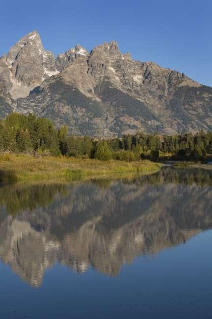 The grand Teton Range seen from Schwabacher Road, Grand Teton National Park, Wyoming, USA