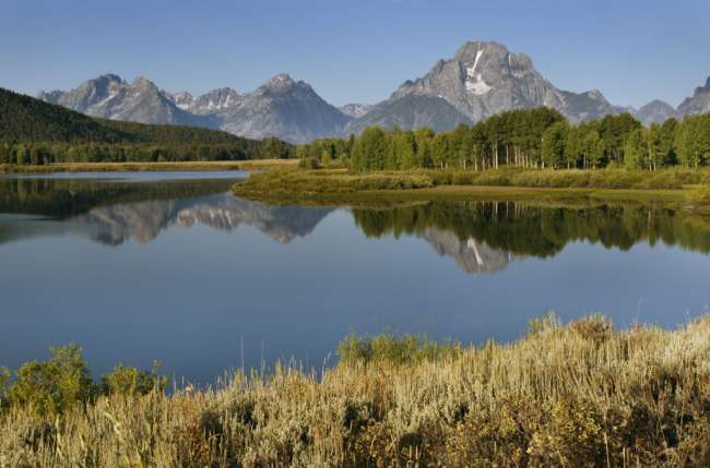 Mount Moran seen from Oxbow Bend, Grand Teton National Park, Wyoming, USA