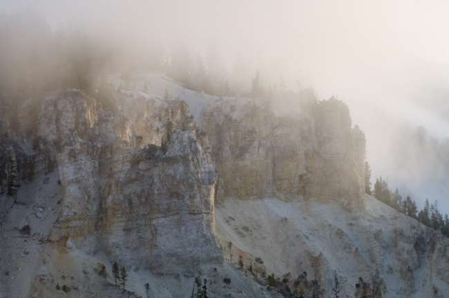 Sun filtering through low fog near lower Yellowstone Falls, Yellowstone National Park, Wyoming, USA