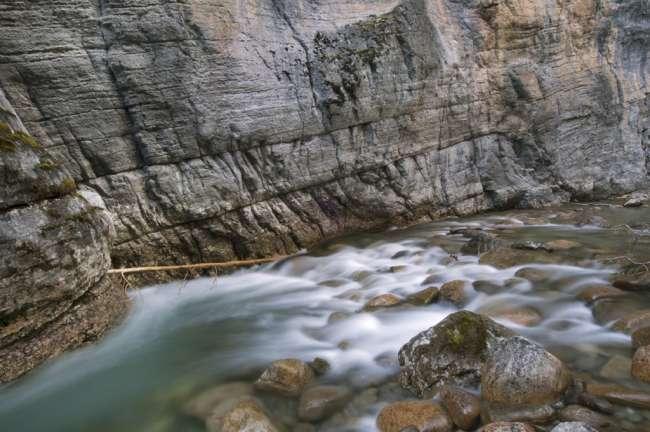 The Maligne River running through Maligne Canyon, Jasper National Park, Jasper Canada