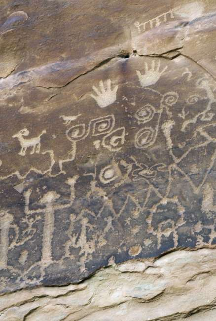 Petroglyphs along the Petroglyph Point Trail, Mesa Verde National Park, Colorado, USA