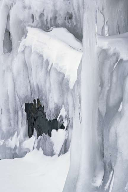 Ice underneath rocks, Hammer Bay, Namakan Lake, Voyageurs National Park, Minnesota, USA