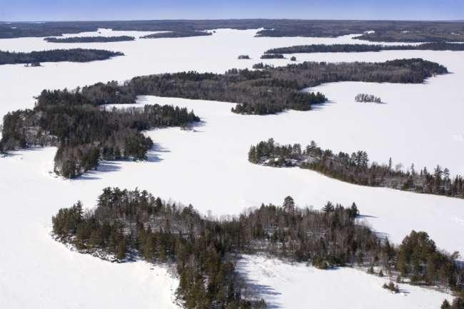 Aerial photographs with park pilot Jim Hummel, Voyageurs National Park, Minnesota, USA