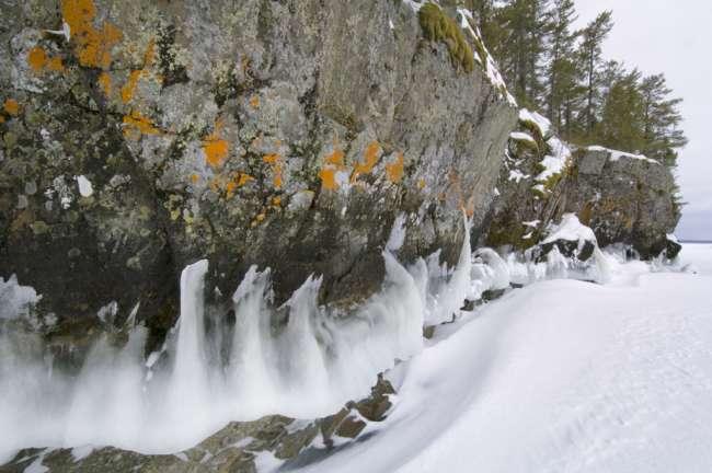 Ice on a rock wall, near Anderson Bay, Rainy Lake, Voyageurs National Park, Minnesota, USA