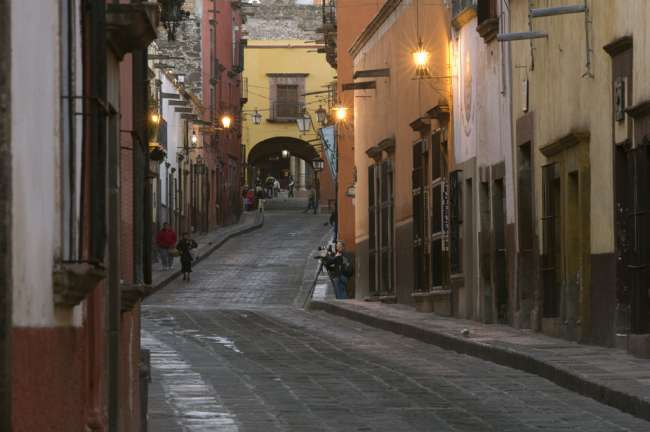 Early morning view on the streets of San Miguel de Allende, State of Guanajuato, Mexico