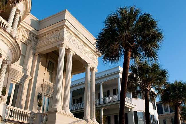 Charleston, South Carolina, USA.  Roman architecture along the streets of historic Charleston.