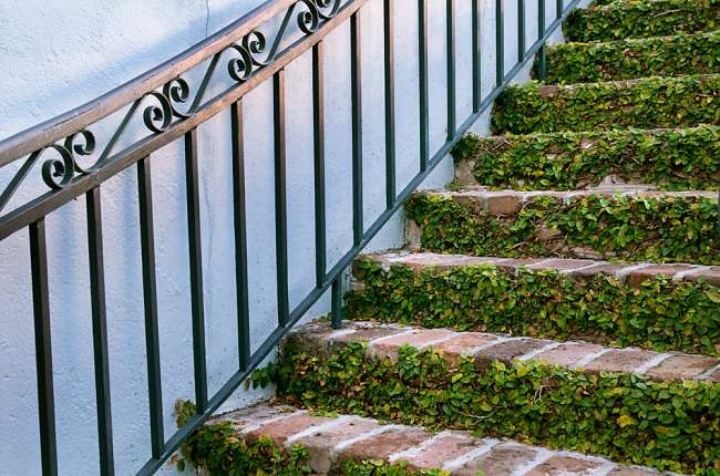 Charleston, South Carolina, USA.  A stairway in the historic district of Charleston.